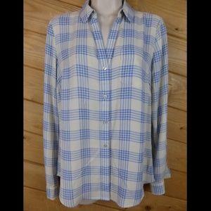 The Limited Ashton Blue Cream Check Plaid Shirt